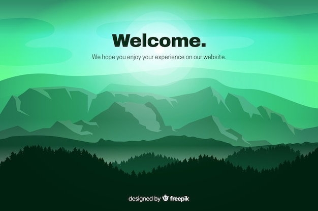 Página de destino verde com paisagem gradiente