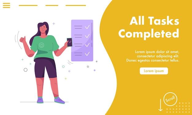 Página de destino vetorial de conceito de todas as tarefas concluídas