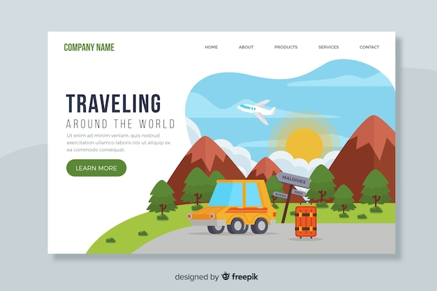 Página de destino viajando pelo mundo