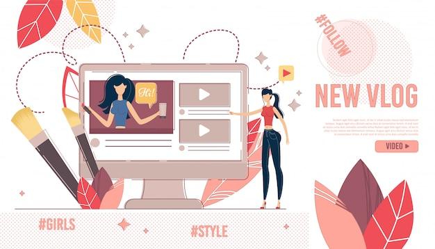 Página de destino visualização de conteúdo de vídeo de compras e moda