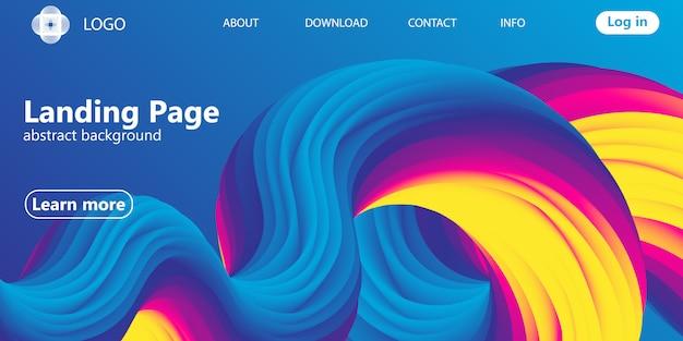 Página de destino web design com design abstrato