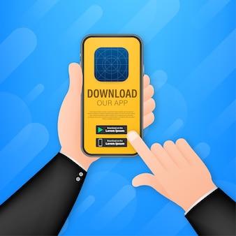 Página de download da ilustração do aplicativo móvel