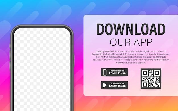 Página de download do aplicativo móvel. smartphone com tela vazia para seu aplicativo. baixar aplicativo.