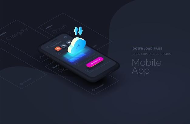 Página de download para página da web de aplicativos móveis criada a partir de blocos separados