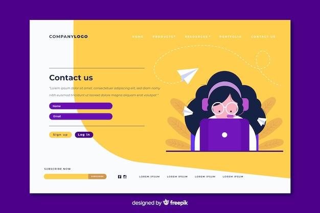 Página de entrada moderna entre em contato