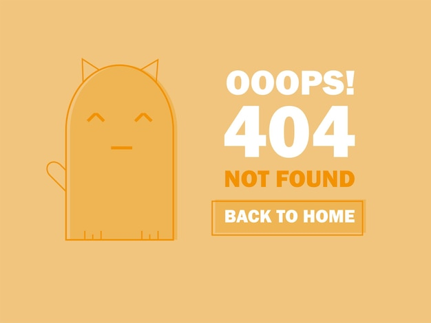 Página de erro 404 com gato fofo dormindo e mensagem ops, página não encontrada. modelo de alerta de problema de pesquisa para o conceito de design do site, ilustração vetorial plana de linha