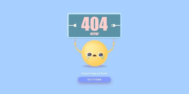 Página de erro 404 com uma carinha sorridente chorando