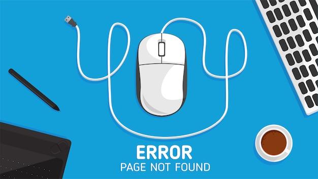 Página de erro 404 do mouse não encontrada plana