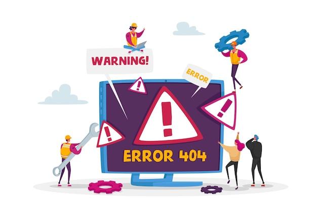 Página de erro 404 do site com minúsculos personagens masculinos e femininos segurando ferramentas para conserto