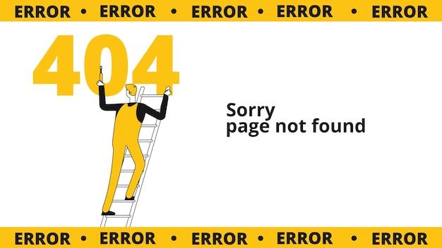 Página de erro 404. falha do computador, oops conceito. modelo de site com personagem masculino de linha plana. falha de aviso de ilustração, página 404, mensagem de site da internet