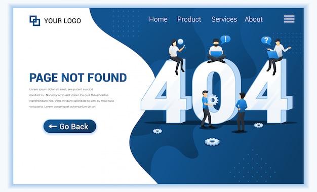 Página de erro 404 não encontrada conceito com pessoas que trabalham pesquisando e tentando corrigir erros.