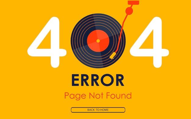 Página de erro 404 não encontrada fundo de música de vinil