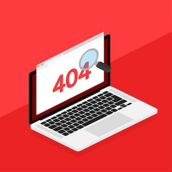 Página de erro 404 não encontrada isolada em vermelho