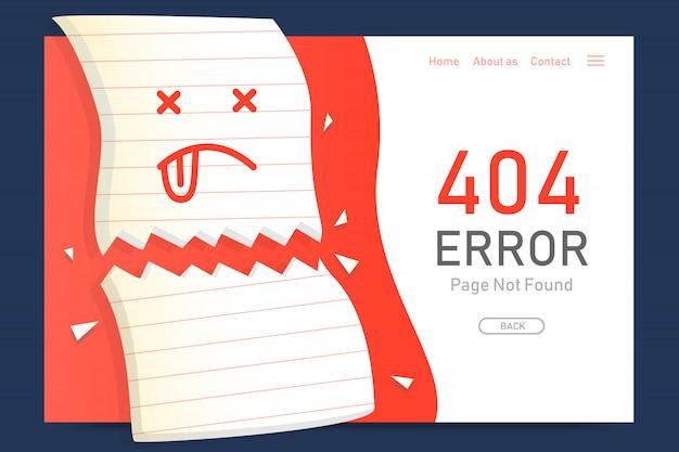 Página de erro 404 não encontrada modelo de design de papel de falta para o gráfico do site