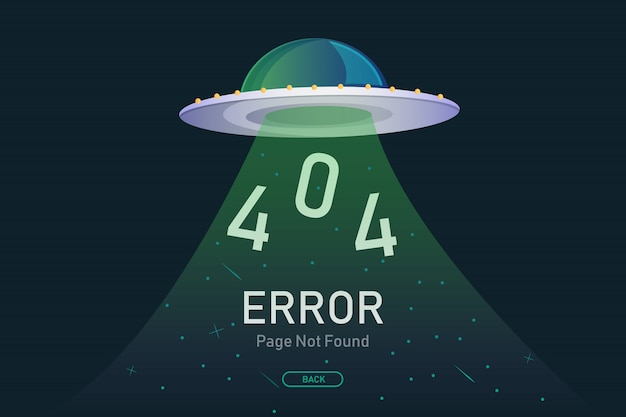 Página de erro 404 não encontrada vetor com ufo