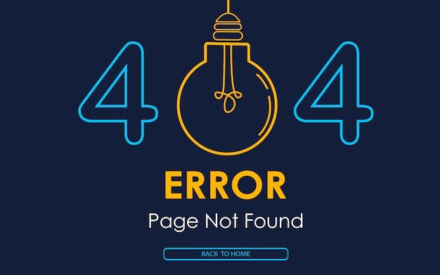 Página de erro 404 não encontrado gráfico quebrado da lâmpada de vetor