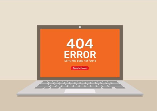 Página de erro 404 no computador portátil.