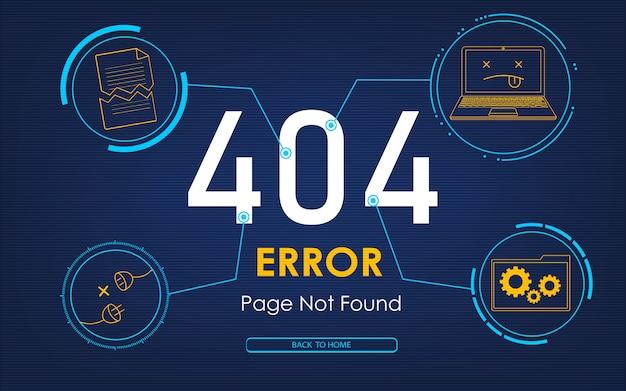 Página de erro de alta tecnologia 404 não encontrada