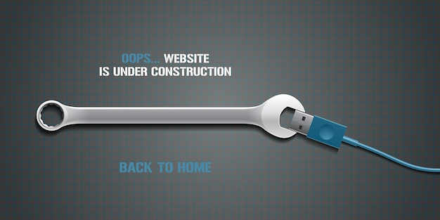 Página de erro do modelo 404, banner com mensagem não encontrada. falha, fundo de texto de aviso perdido com ferramenta de chave inglesa para elemento de design de conceito de erro 404 de site.
