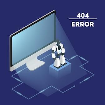 Página de erro não encontrada conceito. ilustração do problema de conexão com a internet. localizando site quebrado. ilustração vetorial isométrica plana