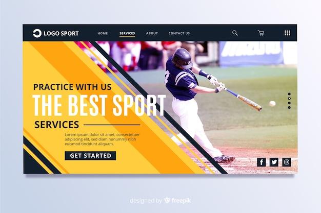 Página de esporte landin com foto de beisebol