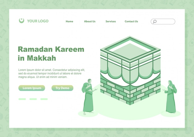 Página de estoque de vetor desembarque ramadan kareem com pessoas fazendo rezar em perto de kabbah sagrado