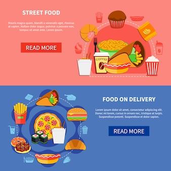 Página de fast food 2 flat banners