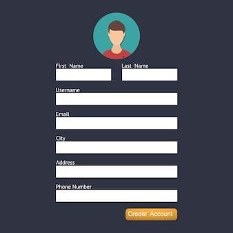 Página de formulário de login. elementos do site ui.