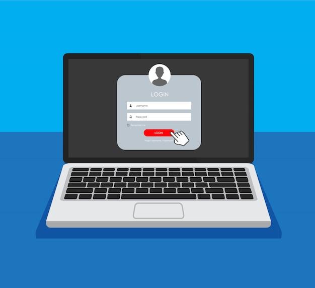 Página de formulário de registro e formulário de logon em um monitor.