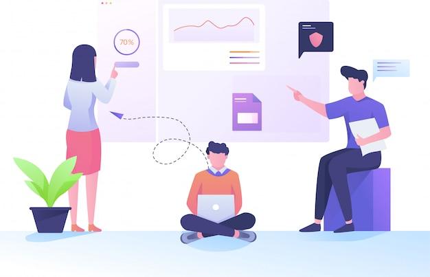 Página de gerenciamento de equipe do desenvolvedor da web e análises