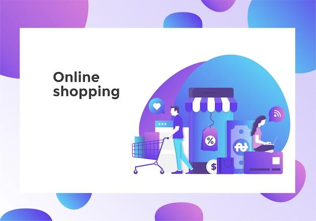 Página de ilustração de compras on-line