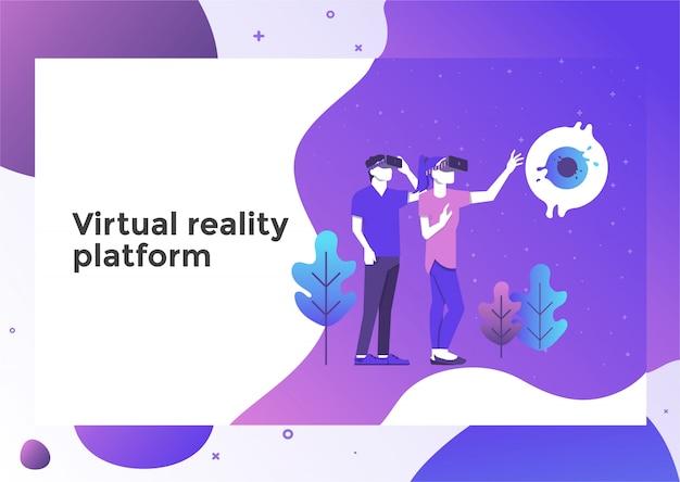 Página de ilustração de realidade virtual