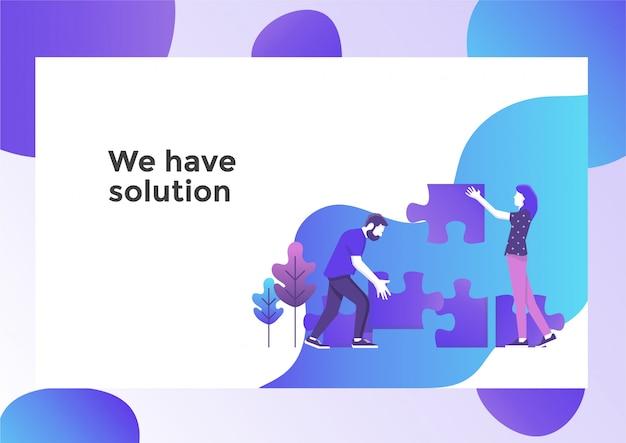 Página de ilustração de solução de negócios
