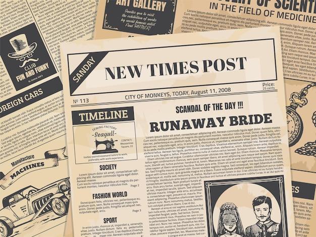 Página de jornal vintage com textura grunge e ilustração de cabeçalhos antigos Vetor Premium