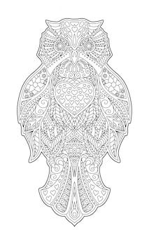Página de livro de colorir adulto com coruja decorativa