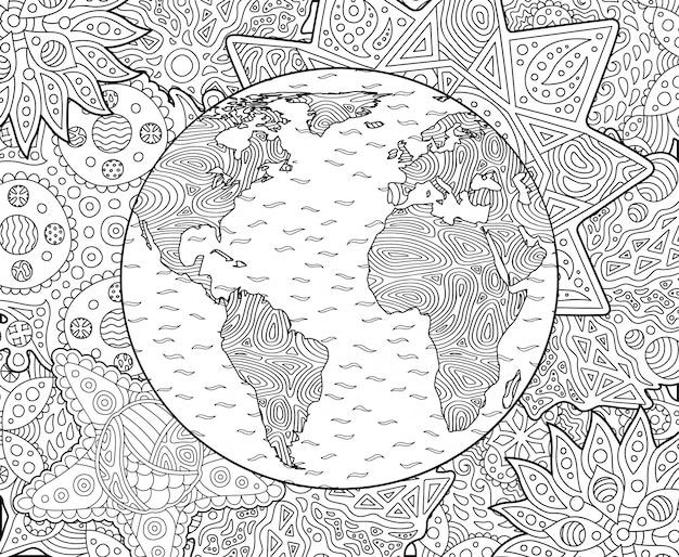 Página de livro de colorir adulto com o planeta terra