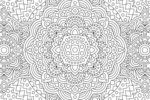Página de livro de colorir adulto com padrão linear