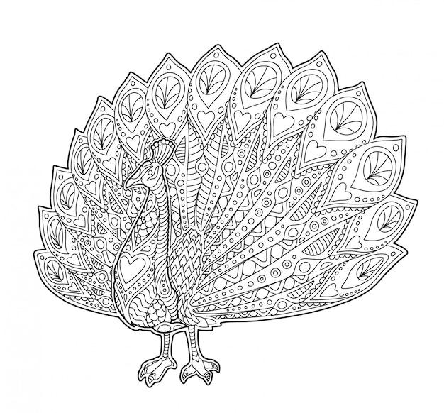 Página de livro de colorir adulto com pavão engraçado