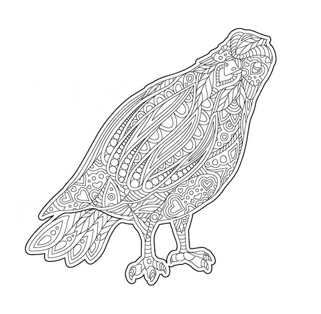 Página de livro de colorir adulto com pomba decorativa