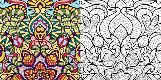 Página de livro de colorir decorativo zentangle para adultos e crianças