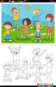 Página de livro de cor de grupo de caracteres de crianças e adolescentes