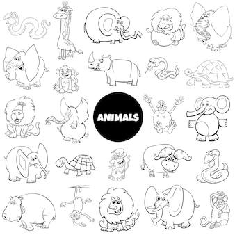 Página de livro de cor grande conjunto de caracteres animais africanos