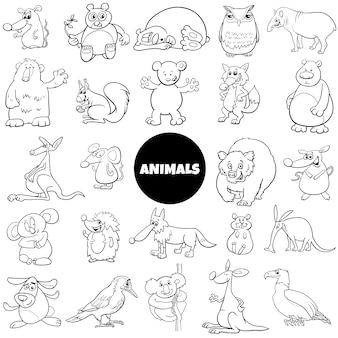Página de livro de cor grande conjunto de caracteres de animais em quadrinhos