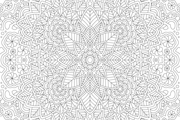 Página de livro para colorir com padrão floral linear