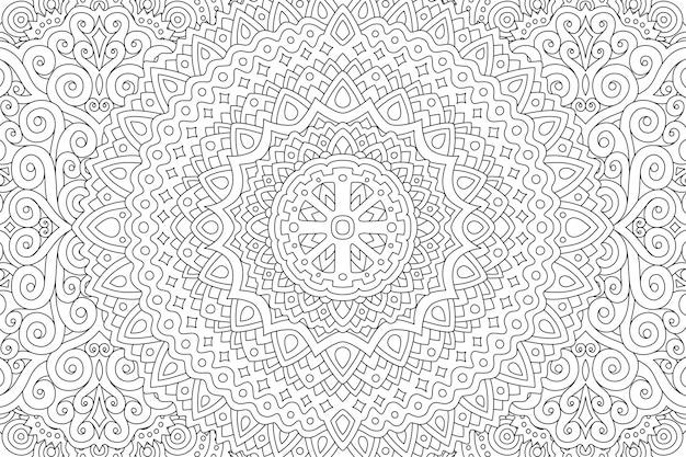 Página de livro para colorir com padrão linear abstrato