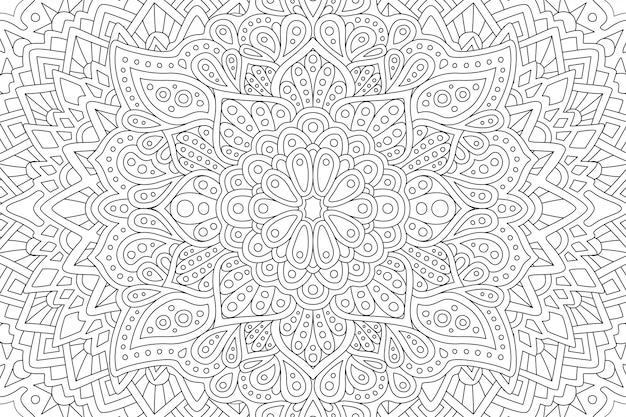 Página de livro para colorir com padrão oriental abstrata