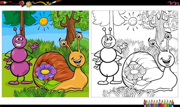 Página de livro para colorir de personagens de desenhos animados formiga e caracol