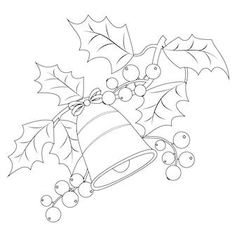 Página de livro para colorir para adultos e crianças. ramo de baga de azevinho de natal com sinos. ilustração vetorial.