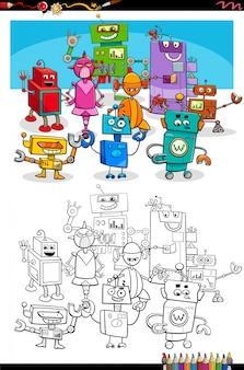 Página de livro para colorir personagens de desenhos animados robôs robôs