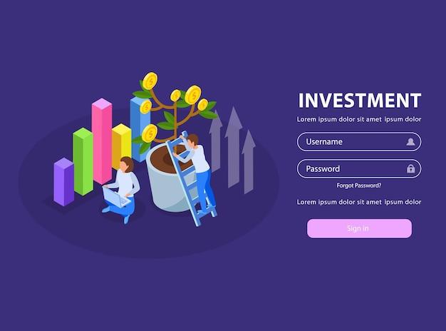 Página de login da web de investimento com árvore de dinheiro de pessoas